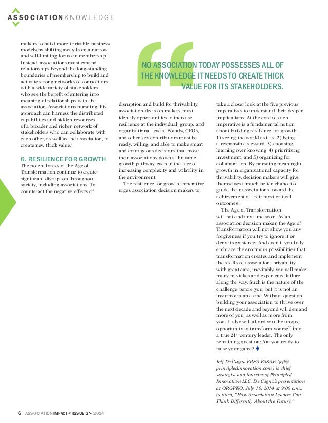 6 associationIMPACT < Issue 3> 2014 makers to build more thrivable business models by shifting away from a narrow and self...