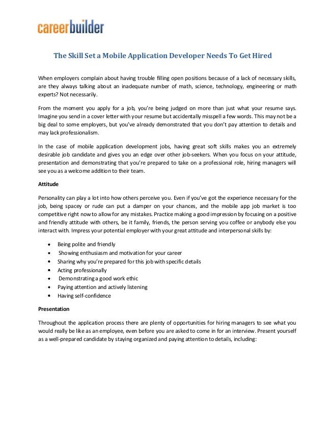 The Skill Set A Mobile Application Developer Needs To Get Hired - Mobile developer cover letter