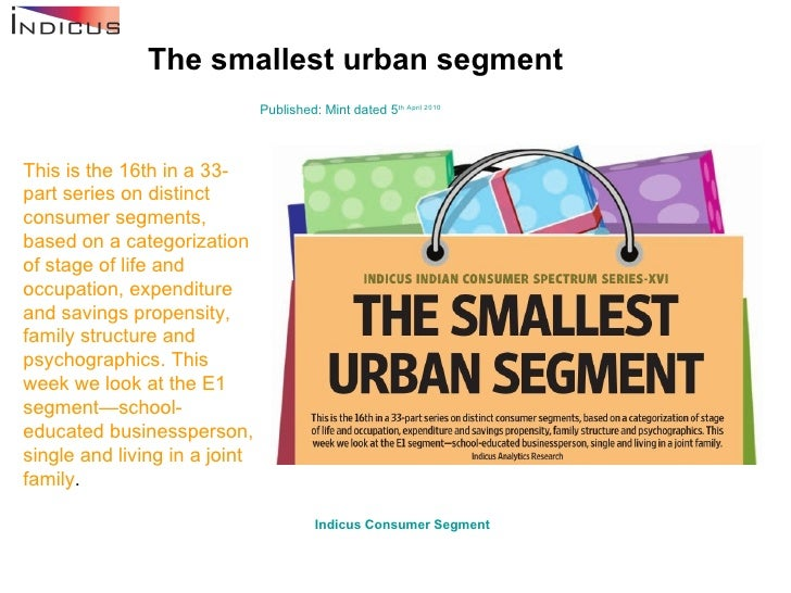 The smallest urban segment Published: Mint dated 5 th  April 2010 This is the 16th in a 33-part series on distinct consume...