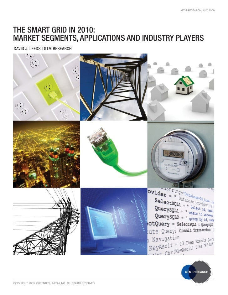 GTM RESEARCH JULY 2009     THE SMART GRID IN 2010: MARKET SEGMENTS, APPLICATIONS AND INDUSTRY PLAYERS DAVID J. LEEDS | GTM...