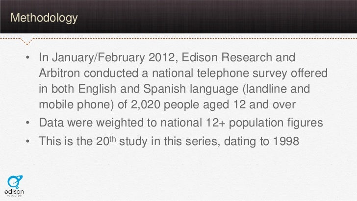 Methodology  • In January/February 2012, Edison Research and    Arbitron conducted a national telephone survey offered    ...