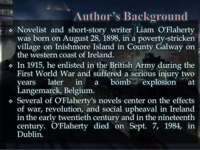 imagery in the short story the sniper by liam oflaherty Analysis - the sniper study play who is the author of the story liam o'flaherty setting the time and place of a story  the story took place in dublin .