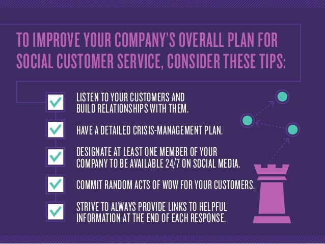 TO IMPROVE YOUR COMPANY'S OVERALL PLAN FOR SOCIAL CUSTOMER SERVICE, CONSIDER THESE TIPS: LISTEN TO YOUR CUSTOMERS AND BUIL...