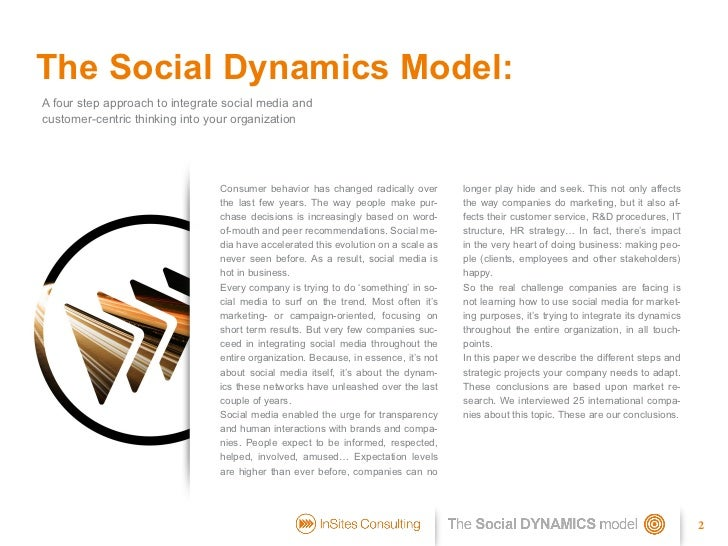 The Social Dynamics model: how to integrate social media in your company Slide 2