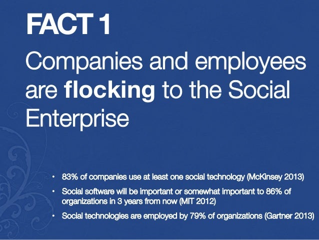 FACT 1 Companies and employees are flocking to the Social Enterprise •  83% of companies use at least one social technology...