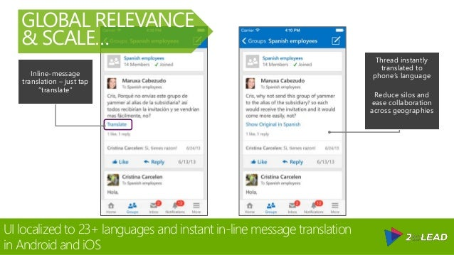 """Inline-message translation – just tap """"translate"""" Thread instantly translated to phone's language Reduce silos and ease co..."""