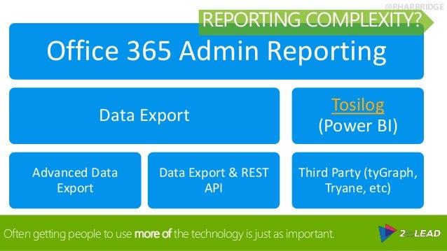 @RHARBRIDGE Office 365 Admin Reporting Data Export Advanced Data Export Data Export & REST API Tosilog (Power BI) Third Pa...