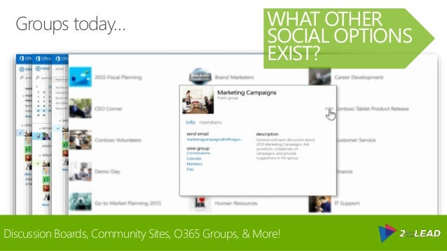Groups today… WHAT OTHER SOCIAL OPTIONS EXIST? Discussion Boards, Community Sites, O365 Groups, & More!