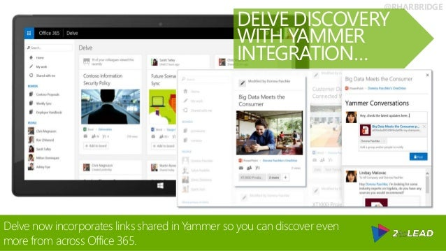 @RHARBRIDGE Delve now incorporates links shared in Yammer so you can discover even more from across Office 365. DELVE DISC...