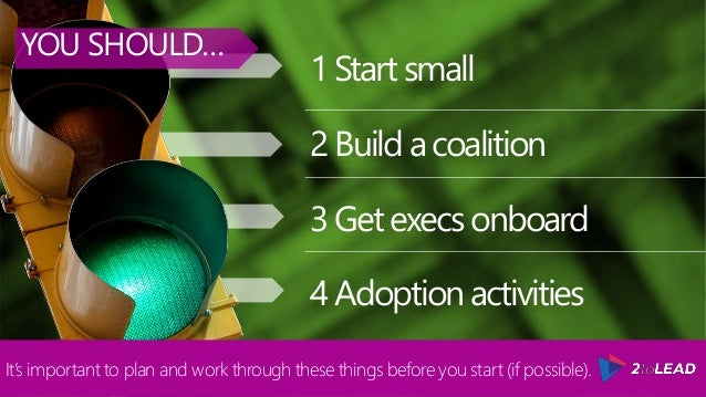 1Startsmall 2Buildacoalition 3Getexecsonboard 4Adoptionactivities YOU SHOULD… It's important to plan and work through thes...