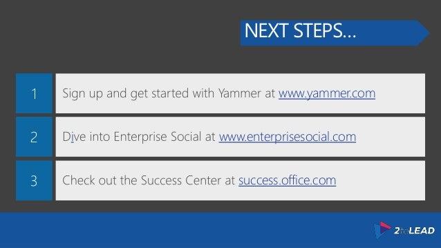 NEXT STEPS… www.yammer.com i www.enterprisesocial.com success.office.com