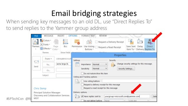 """#SPTechCon @RHarbridge Email bridging strategies When sending key messages to an old DL, use """"Direct Replies To"""" to send r..."""