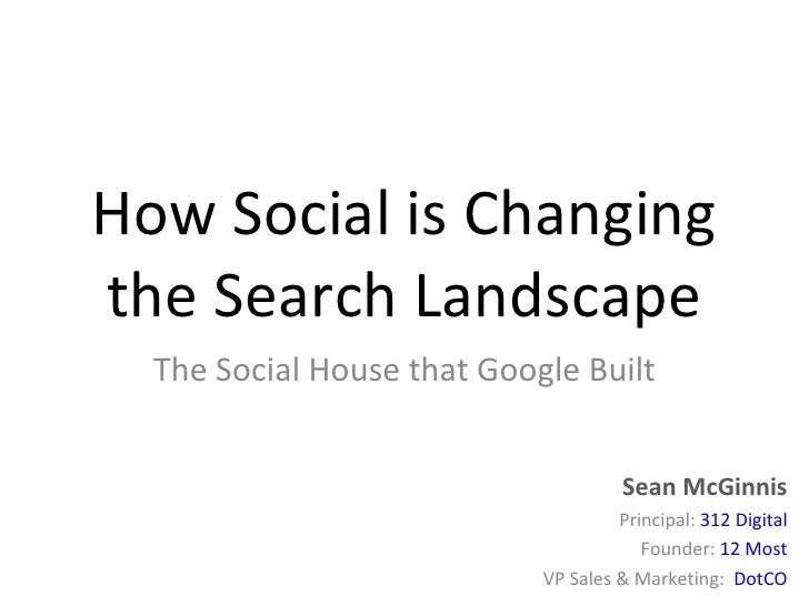 How Social is Changing the Search Landscape The Social House that Google Built Sean McGinnis Principal:  312 Digital Found...