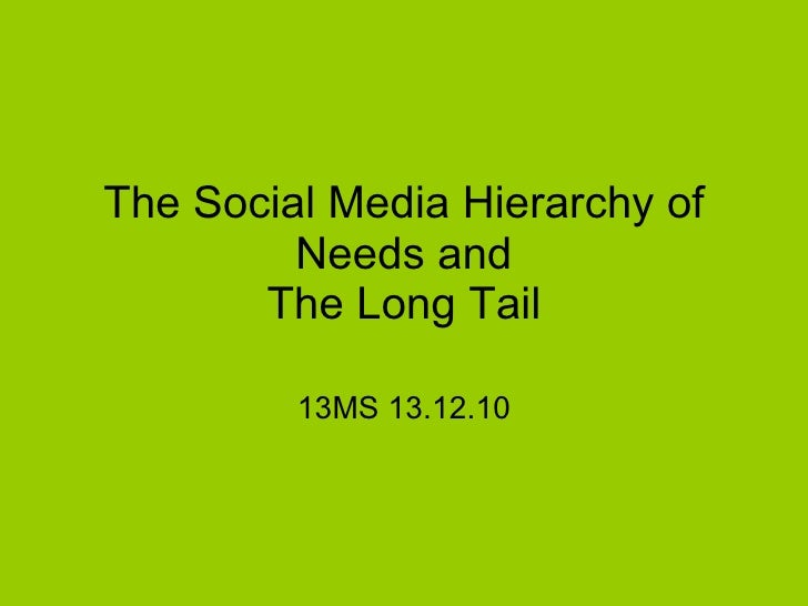 The Social Media Hierarchy of Needs and The Long Tail 13MS 13.12.10