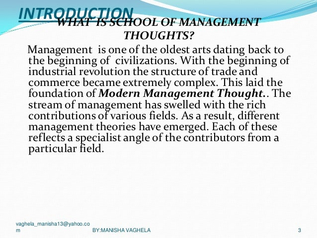 Major Schools of Management Thought
