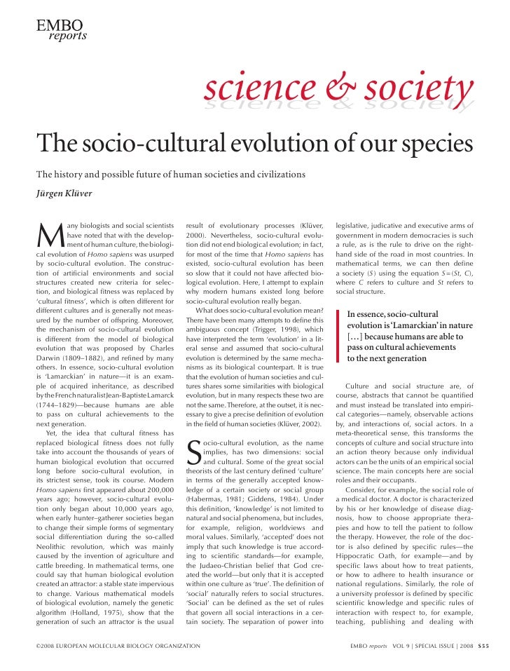 science & society                                                          science & society  The socio-cultural evolution...