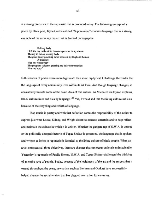 college essay about rap music