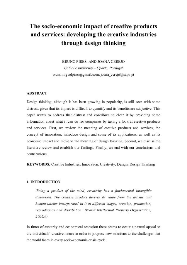 The socio-economic impact of creative products and services: developing the creative industries through design thinking BR...