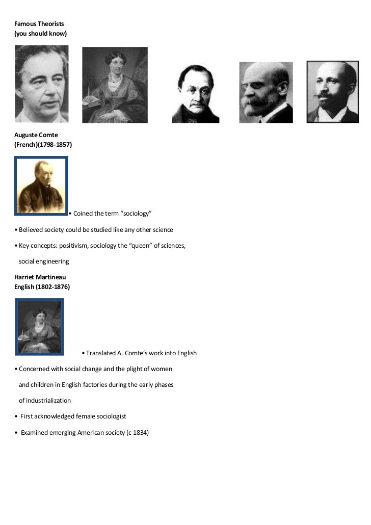 """Famous Theorists(you should know)Auguste Comte(French)(1798-1857)                    • Coined the term """"sociology""""• Believ..."""