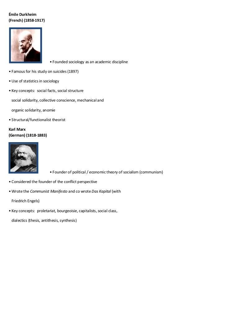 Émile Durkheim(French) (1858-1917)                          • Founded sociology as an academic discipline• Famous for his ...