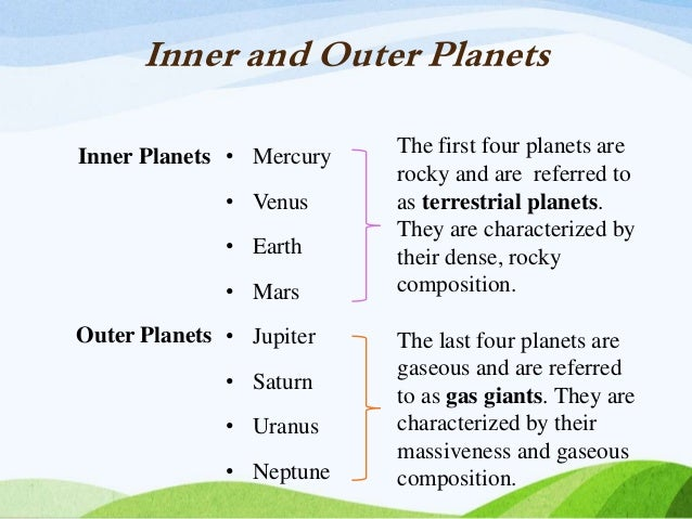 Compare and Contrast Inner and Outer Planets (page 2 ...