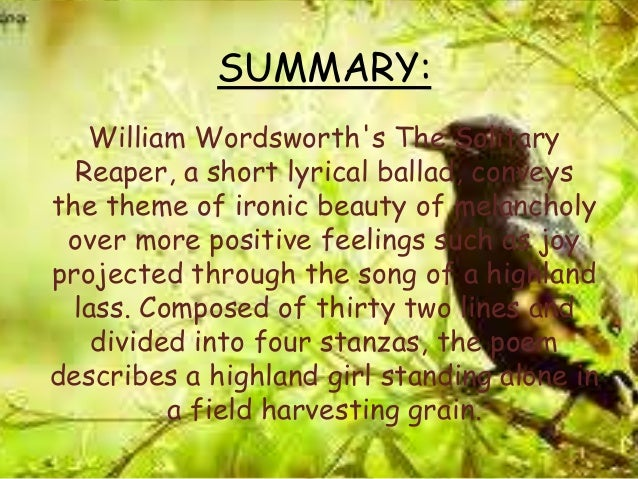 william wordsworth the solitary reaper analysis