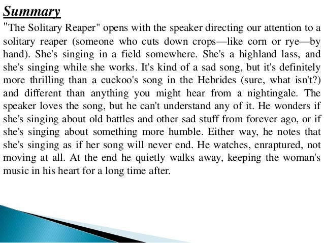 the solitary reaper summary