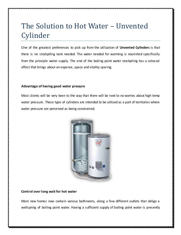 The Solution to Hot Water – Unvented Cylinder