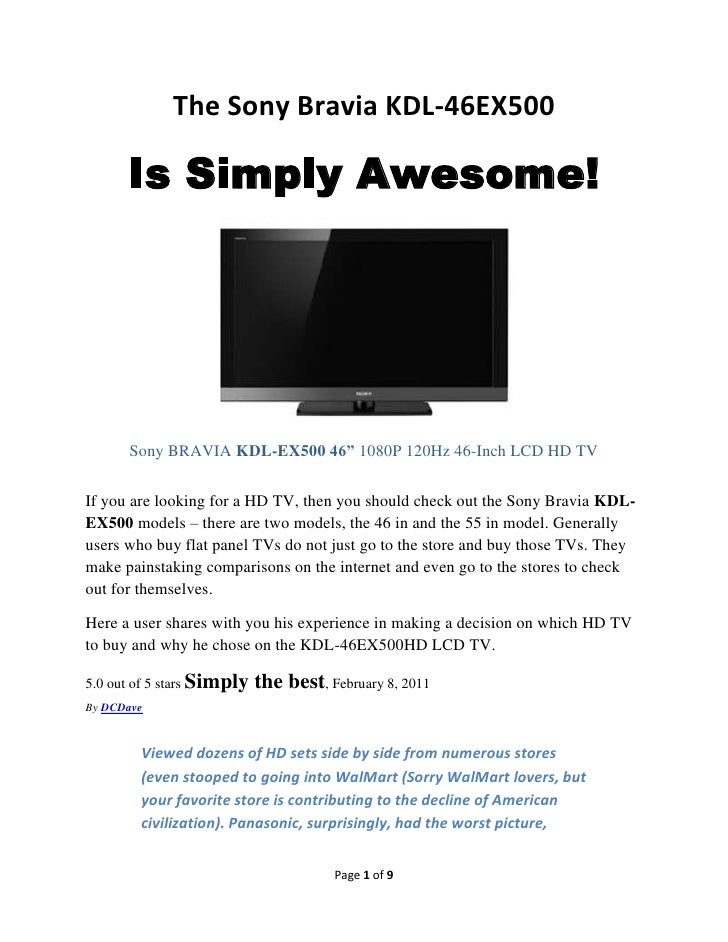 looking for an awesome lcd tv check out sony bravia kdl 46ex500 rh slideshare net