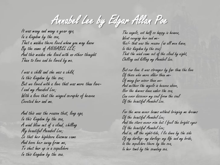 the symbolic meanings of the seraphims in annabel lee a poem by edgar allan poe Dark romanticism and transcendentalism vocabulary learn vocabulary,  edgar allan poe poem  annabel lee edgar allan poe.