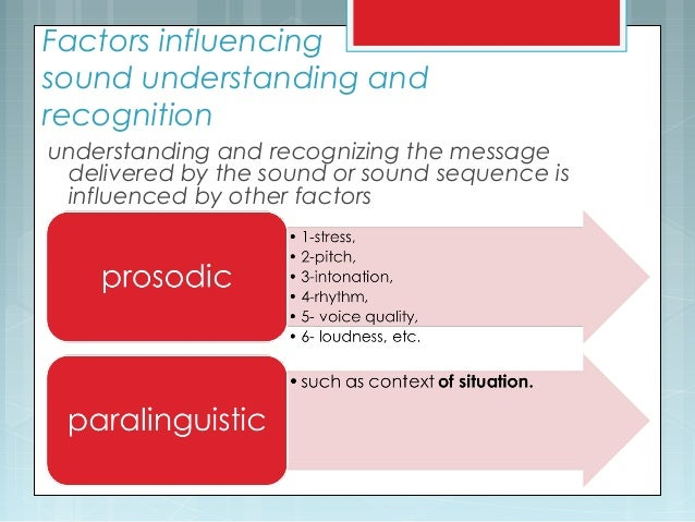 Factors influencing sound understanding and recognition understanding and recognizing the message delivered by the sound o...