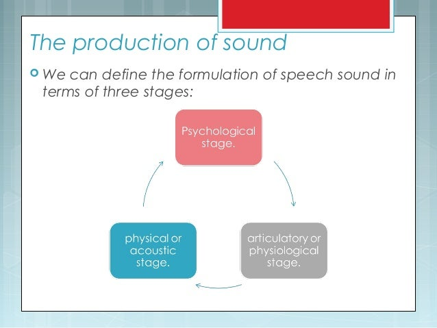 The production of sound  We can define the formulation of speech sound in terms of three stages: