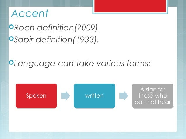 Accent Roch definition(2009). Sapir definition(1933). Language can take various forms: