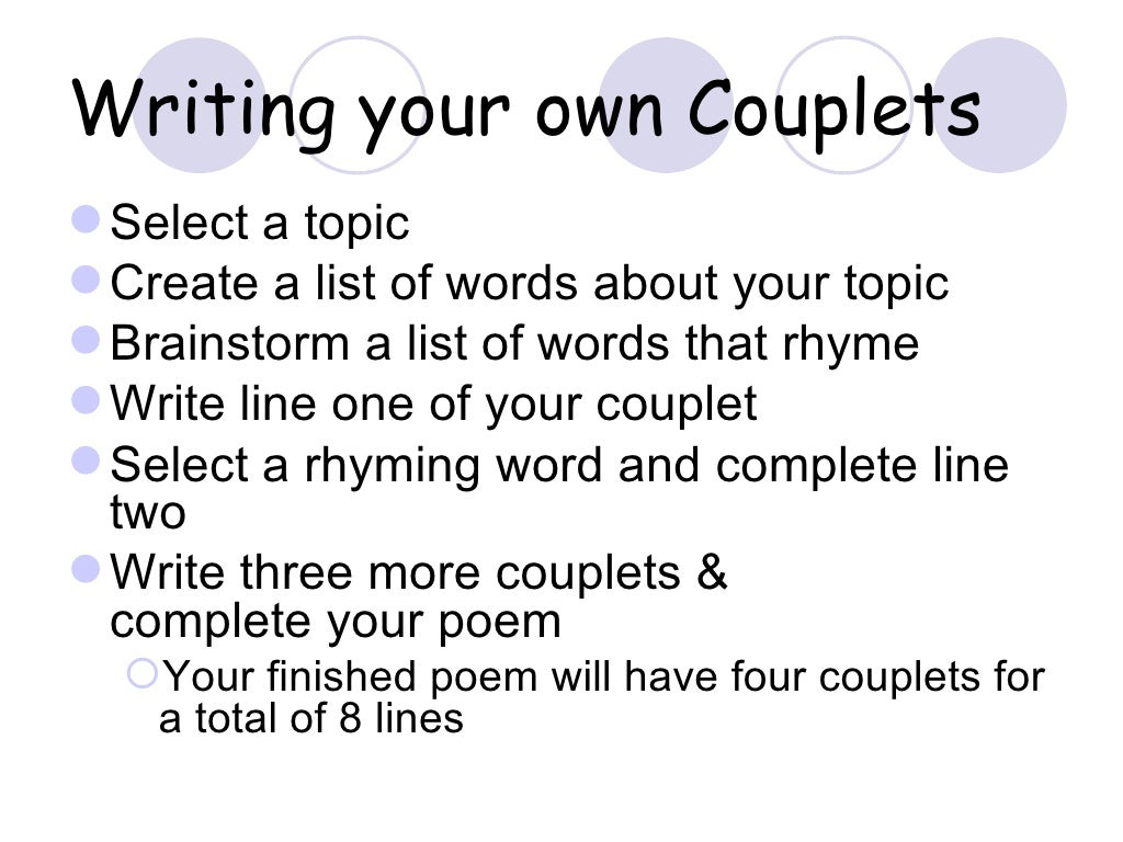 How to Write a Couplet recommend