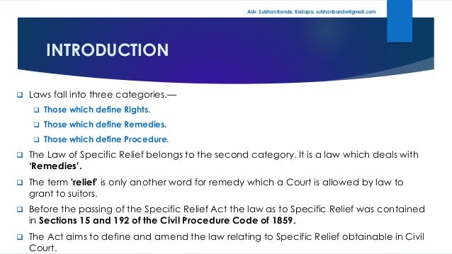 Specific Relief Act 1963 Pdf