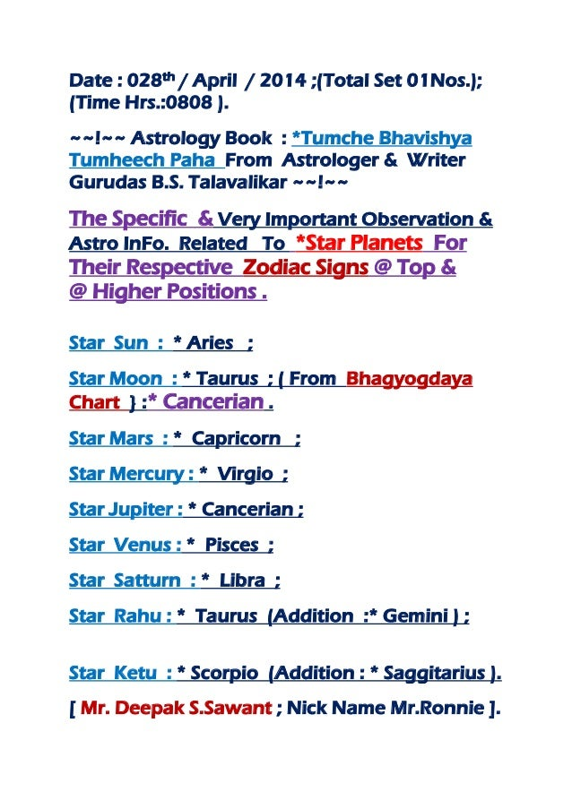 Date : 028th / April / 2014 ;(Total Set 01Nos.); (Time Hrs.:0808 ). ~~!~~ Astrology Book : *Tumche Bhavishya Tumheech Paha...
