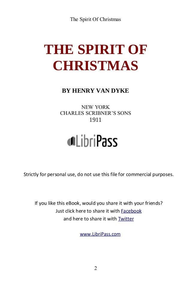 The Spirit Of Christmas By Henry Van Dyke - ebook