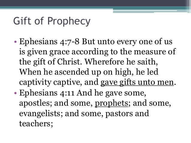 the controversy of the spiritual gift of prophecy Seventh-day adventists believe   one of the gifts of the holy spirit is prophecy this gift is an identifying mark of the remnant church and was manifested in the ministry of ellen g.