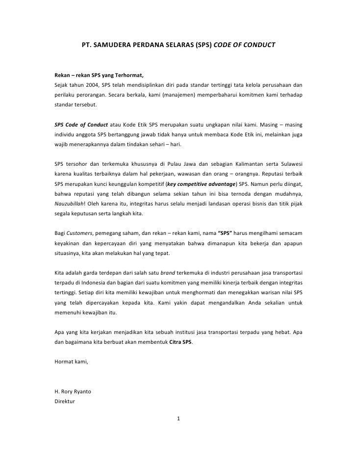 PT. SAMUDERA PERDANA SELARAS (SPS) CODE OF CONDUCTRekan – rekan SPS yang Terhormat,Sejak tahun 2004, SPS telah mendisiplin...