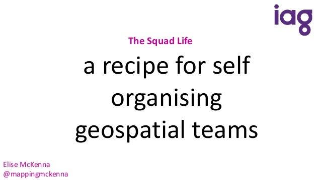 The Squad Life a recipe for self organising geospatial teams Elise McKenna @mappingmckenna