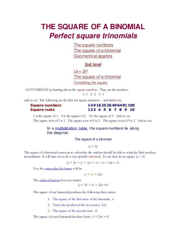 Perfect Square Of Binomials