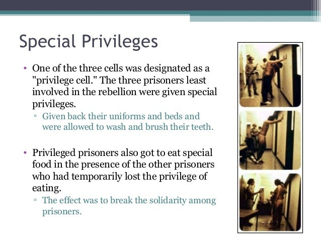 """Special Privileges • One of the three cells was designated as a """"privilege cell."""" The three prisoners least involved in th..."""