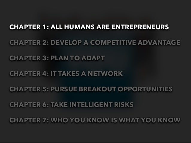 CHAPTER 1: ALL HUMANS ARE ENTREPRENEURSCHAPTER 2: DEVELOP A COMPETITIVE ADVANTAGECHAPTER 3: PLAN TO ADAPTCHAPTER 4: IT TAK...