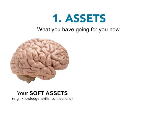 1. ASSETS               What you have going for you now.  Your SOFT ASSETS                       Your HARD ASSETS(e.g., kn...