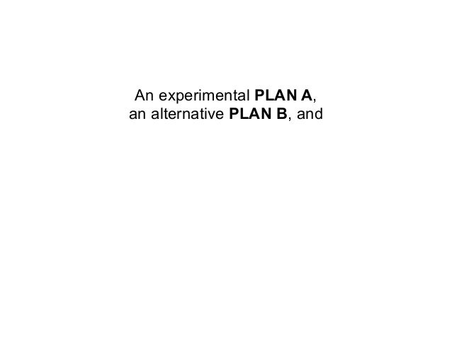 An experimental PLAN A,   an alternative PLAN B, and an unchanging, certain PLAN Z.            This isABZ PLANNING        ...