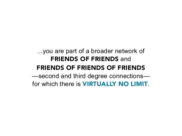 If you're connected to a couple hundred people on LinkedIn,     you're actually at the center of an extended network     M...