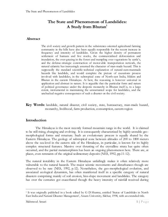 The State and Phenomenon of Landslides  The State and Phenomenon of Landslides: A Study from Bhutan1 Abstract The civil so...