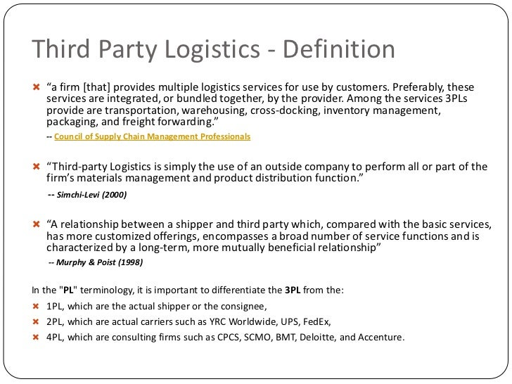 the use of third party logistics services Whereas the ns would like to make use of the services offered by  logistics and procurement services provided  by the federation or a third party logistics.