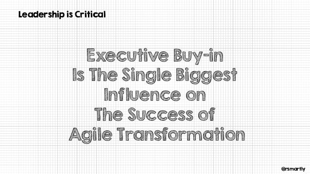 @rsmartly Leadership is Critical Executive Buy-in Is The Single Biggest Influence on The Success of Agile Transformation