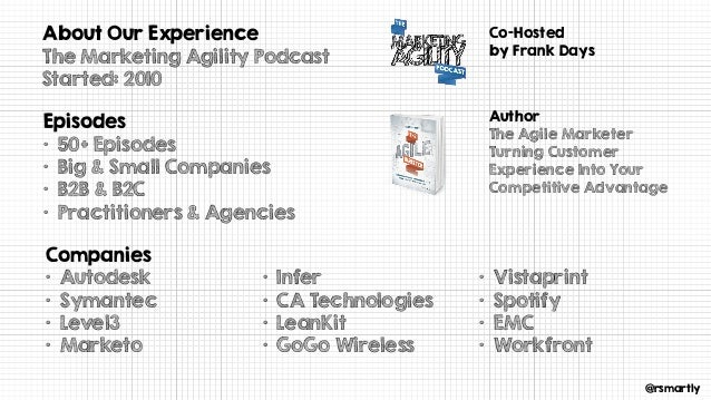 @rsmartly About Our Experience The Marketing Agility Podcast Started: 2010 Episodes • 50+ Episodes • Big & Small Companies...